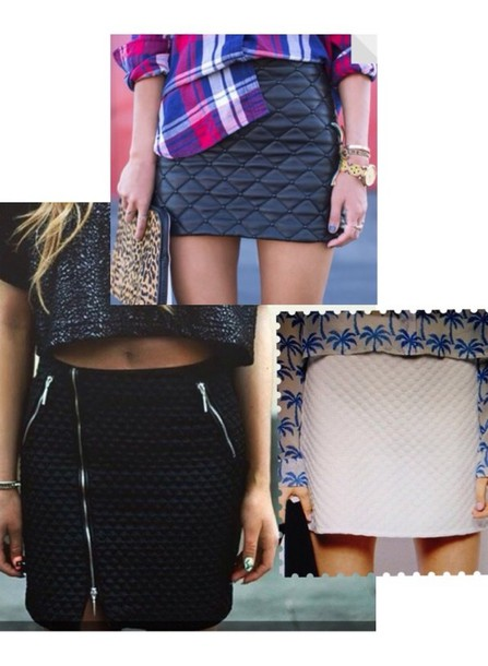 skirt quilted high waisted skirt