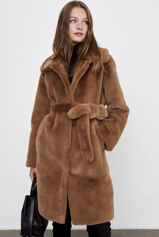 Manteau PRUNE en fausse fourrure