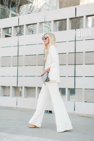 modern ensemble blogger jacket pants jewels shoes bag sunglasses white pants crossbody bag