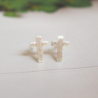 jewels summer summer handcraft earrings silver earring cross cross earring sterling silver silver earrings simple earrings stud earrings gift ideas lovely gift girlfirend gift wwe gifts girlsfriend gift birthday gift