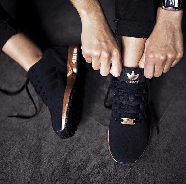 0463dd0477e7  b WOMENS ADIDAS ZX FLUX CORE BLACK COPPER ROSE GOLD BRONZE S78977