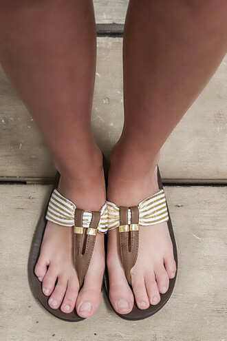 shoes summer beach amazinglace brown prep gold metallic leather strap thong sandals flip-flops sandals flats