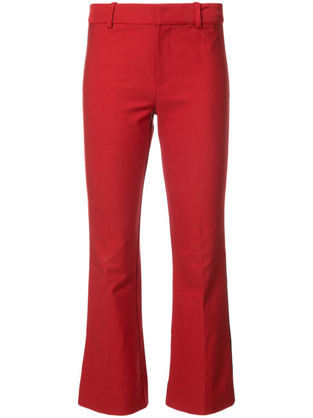 DEREK LAM 10 CROSBY flare cropped women cotton red pants