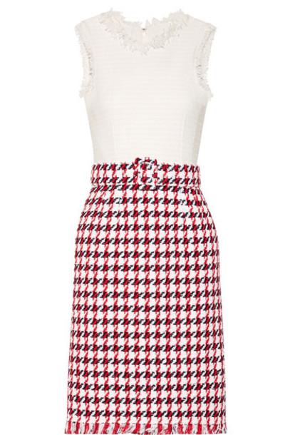 oscar de la renta dress cotton houndstooth red