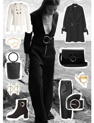 viennawedekind blogger coat bag jewels skirt belt shoes sweater black bag lace up jumper black coat ankle boots shoulder bag gold jewelry