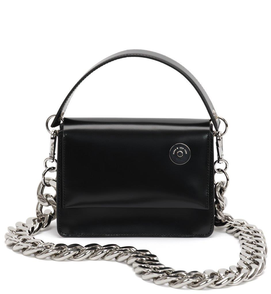 Black Baby Pinch Shoulder Bag With Chain