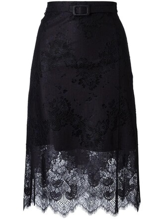 skirt lace skirt women scalloped lace cotton black silk