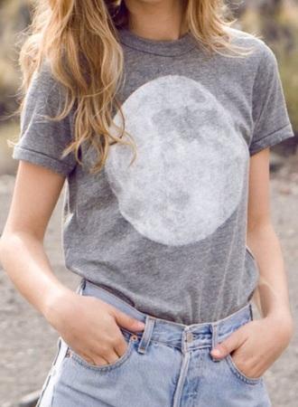 blouse gray t-shirts brandy melville moon high waisted shorts grey t-shirt cuffed sleeves