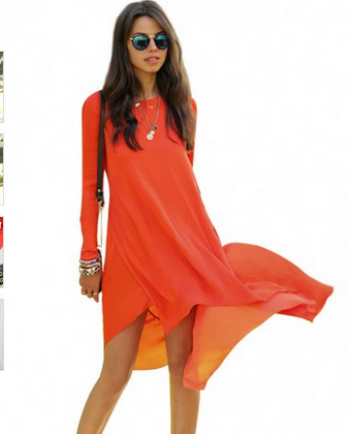 e4b69dc4264e Orange Long Sleeve Flowy Dress