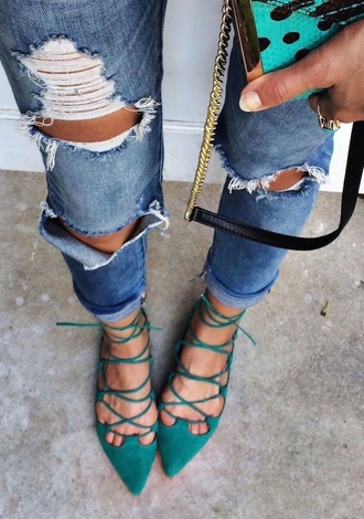 shoes cute strappy flats blue