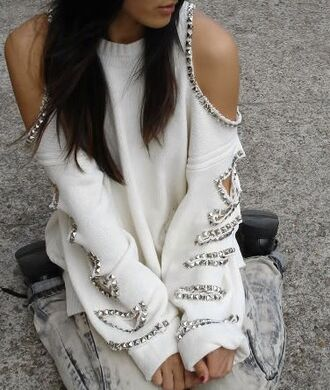 sweater shirt cut-out white beeded off the shoulder sweater loose fit sweater studded sexy gorgeous studded jumper kit sweater