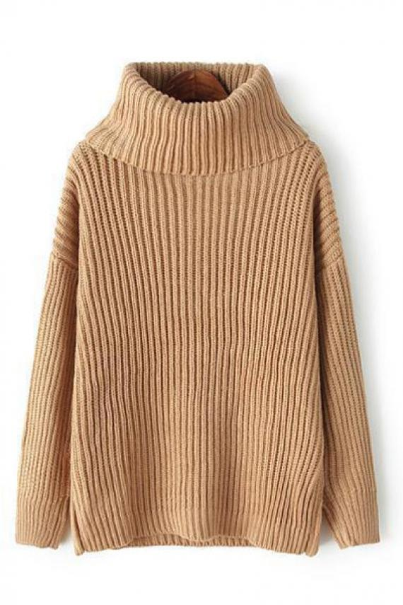 Plain turtle neck long sleeve loose pullover sweater