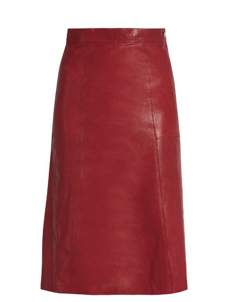 VANESSA BRUNO Doma A-line leather skirt in burgundy