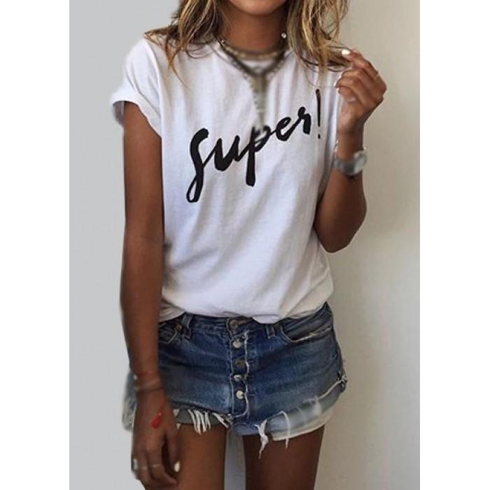 Short Sleeve Letter Print White T Shirt