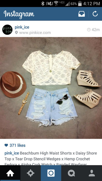 shirt High waisted shorts shorts shoes blouse high waist shorts high rise shorts cutoff shorts sandals crop tops summer outfits distressed shorts high heels sunglasses fedoras watch hat