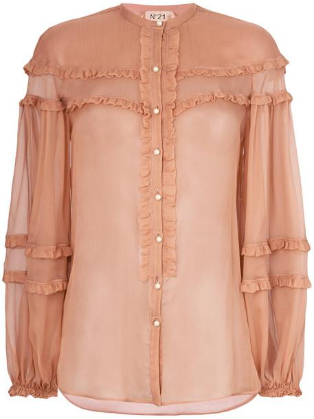 No21 blouse sheer blouse sheer ruffle women silk brown top