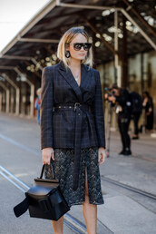 jacket,tumblr,blazer,black blazer,dress,floral,floral dress,midi dress,slit dress,bag,black bag,sunglasses,streetstyle,work outfits,office outfits