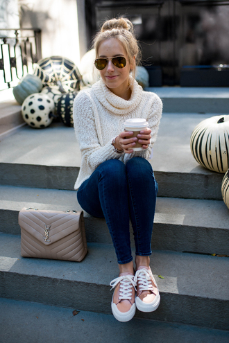 katie's bliss - a personal style blog based in nyc blogger cardigan shoes jeans bag sunglasses jewels ysl bag turtleneck sweater sneakers fall outfits