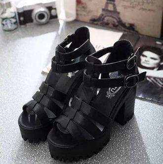 shoes black heels platform shoes chunky heels sandal heels mid heel sandals