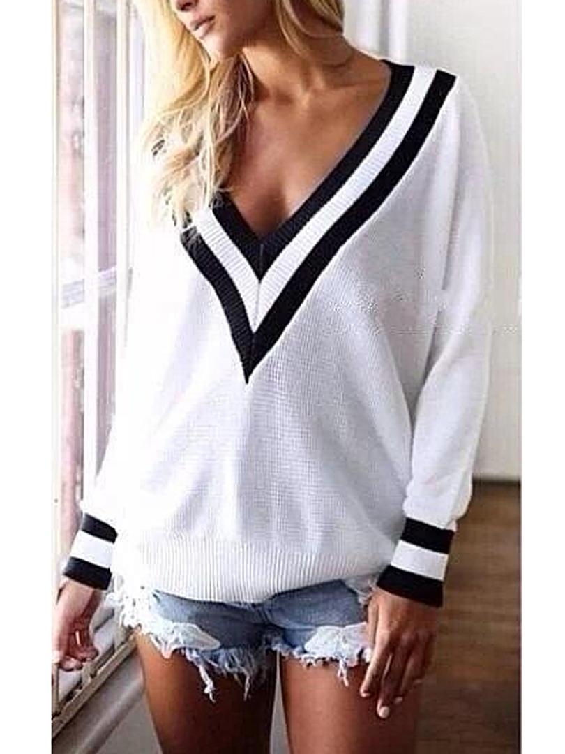 V Neck Long Sleeve Knit Sweater | SPREDFASHION