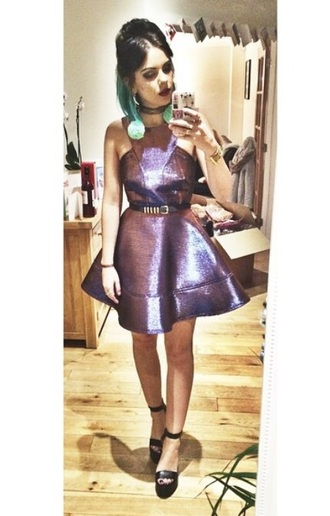 dress holographic metallic high neck structured fashion girl alternative party dress public desire platform shoes topshop flare dress circle skirt structured flared dress black heels