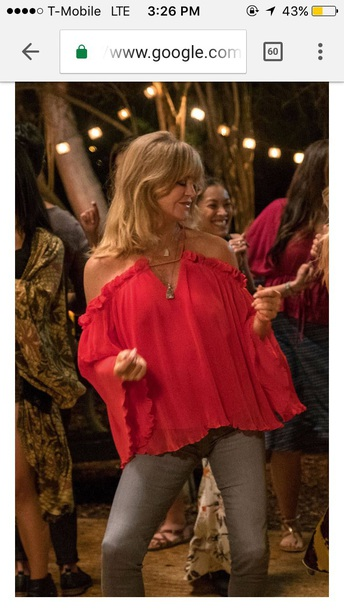 blouse red snatched goldie hawn peasant blouse