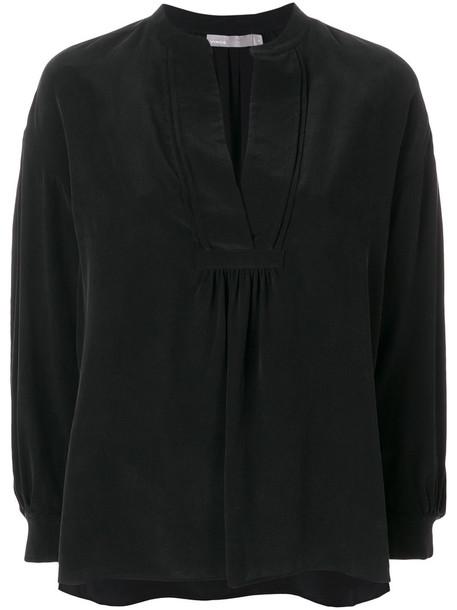 Vince blouse loose women fit black silk top