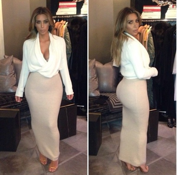 skirt kim kardashian coat shirt cowl neck long sleeve. cowl neck tubeskirt pencil skirt long skirts n tops like this xxxx skirt kim kardashian style top fashion white white top celebrity style sexy blouse nude skirt blonde hair dress flowy top loose top open front top cross front top