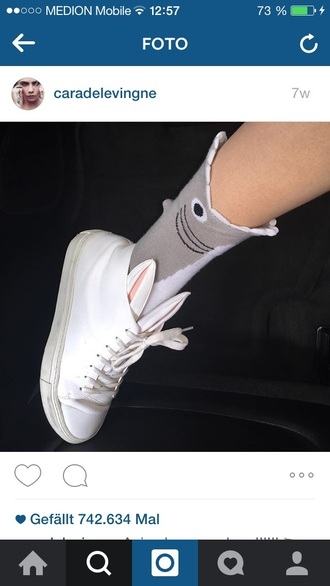 bunny cara delevingne style shark high top sneakers