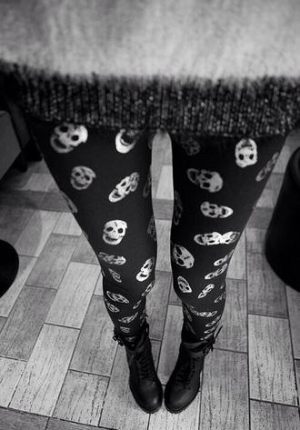 tights skulls black grunge leggings pants red lime sunday