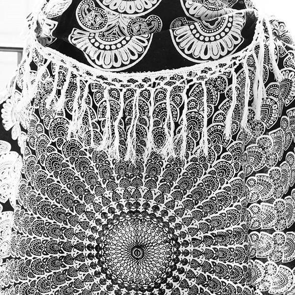 Black And White Tassel Rug: MEDITATING CHAKRA YOGA MAT RUG LARGE WITH FRINGE