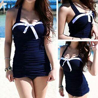 swimwear summer blue white sailor halter neck