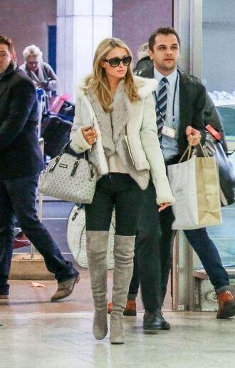 jacket fur fur vest paris hilton boots
