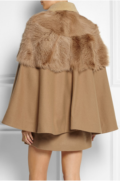 Unique | Shearling-paneled wool-blend cape coat | NET-A-PORTER.COM