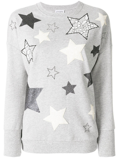 sweater embroidered women cotton grey