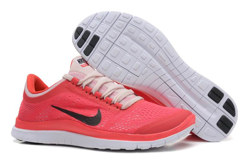 Women's Nike Free 3.0 V5 Red Black Pink Running Shoes - 0268Yg