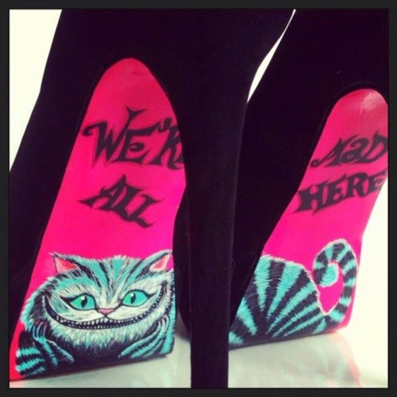 alice in wonderland high heels shoes pink and black heels