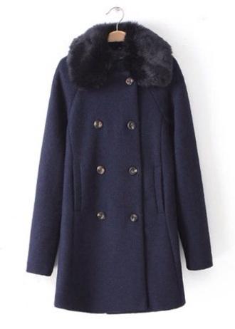 coat fur collar coat navy wool coat