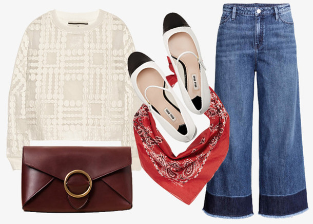 jane's sneak peak blogger jeans flare pants bandana print pouch white sweater flats