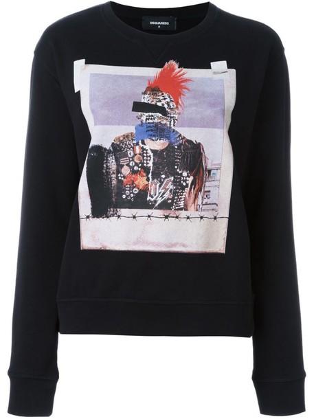 Dsquared2 sweatshirt women cotton print black sweater