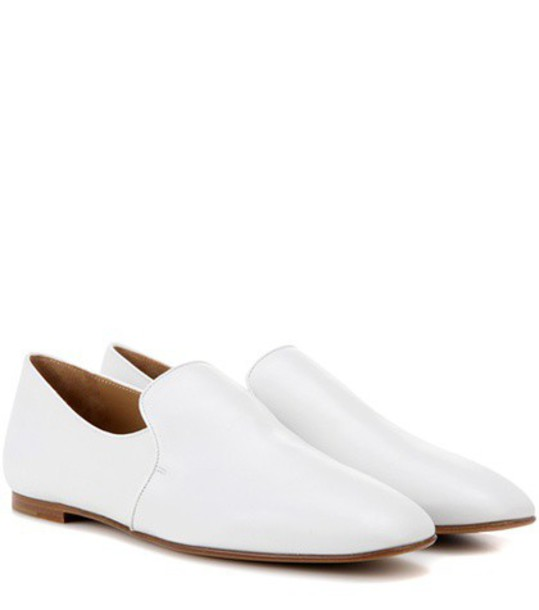 The Row Alys leather slippers in white
