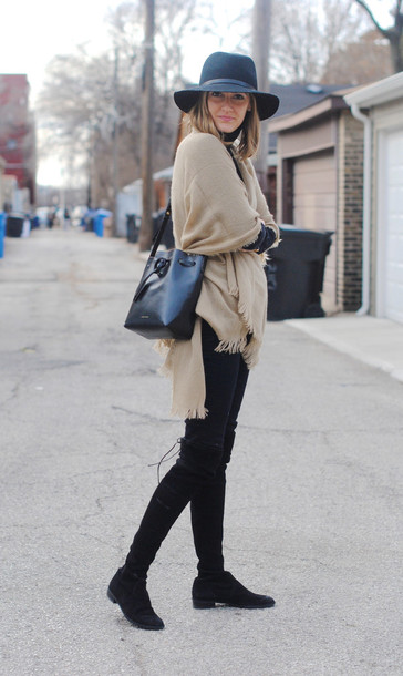 see jane blogger scarf hat knee high boots camel