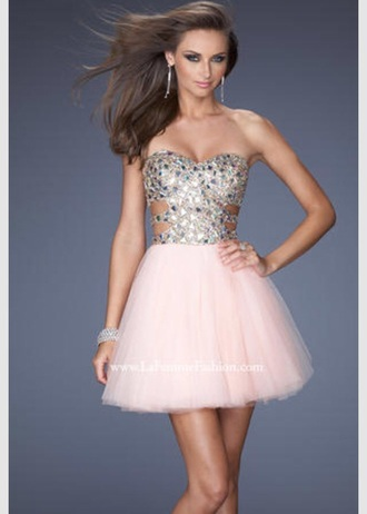 pink dress dress shorts short dress homecoming dress prom dress sparkly dress sparkles cute dress pink strapless high heels glitter fancy high low