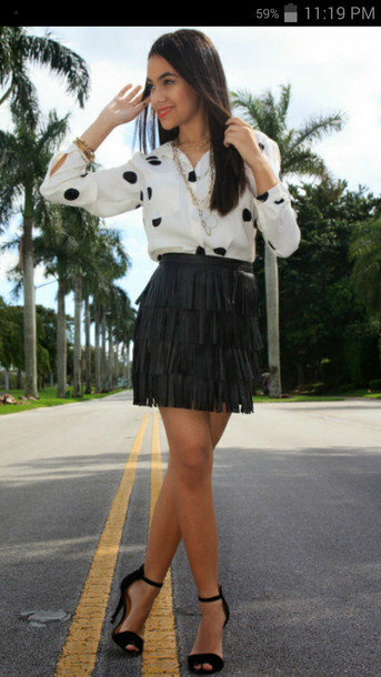 blouse skirt fringes polka dots black white outfit girly fashion shoes long sleeves spring fringe skirt