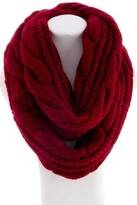 Cable knit infinity scarf in maroon