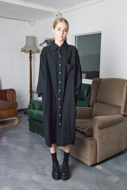 dress, black, street, oversized, midi dress, loose, shirt ...