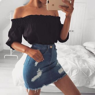 skirt tumblr black top off the shoulder off the shoulder top three-quarter sleeves mini skirt denim skirt blue skirt
