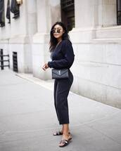 jeans,cropped jeans,black jeans,slide shoes,sweater,knitted sweater,aviator sunglasses,crossbody bag