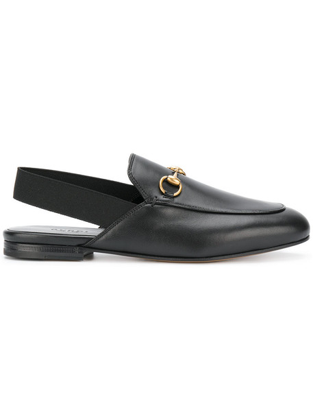 gucci women mules leather black shoes