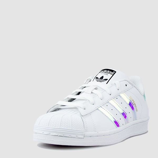 adidas superstar gs white metallic silver womens